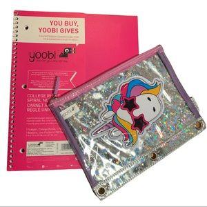 5/$25 NWT Yoobi Ruled Spiral Notebook & Unicorn Pencil Case